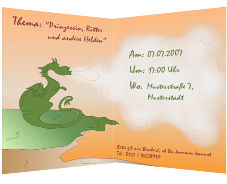 Diese Grußkarte ist für Kindergeburtstagseinladungen geeignet.