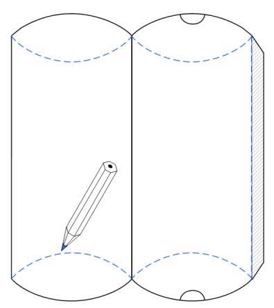 Mit Einem Spitzen Stift Gebogene Linie Von Der Vorlage Auf Den Karton Durchdrücken Ermöglicht Ein Leichteres Einbiegen Flügel