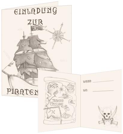 bastelanleitung: einladung zur piratenparty - nic bastelt, Einladung
