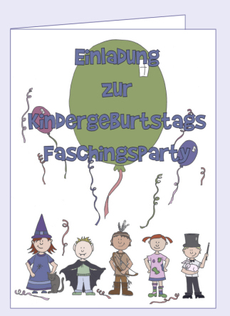 Bastelanleitung Einladungskarte Kindergeburtstag Kinderfasching