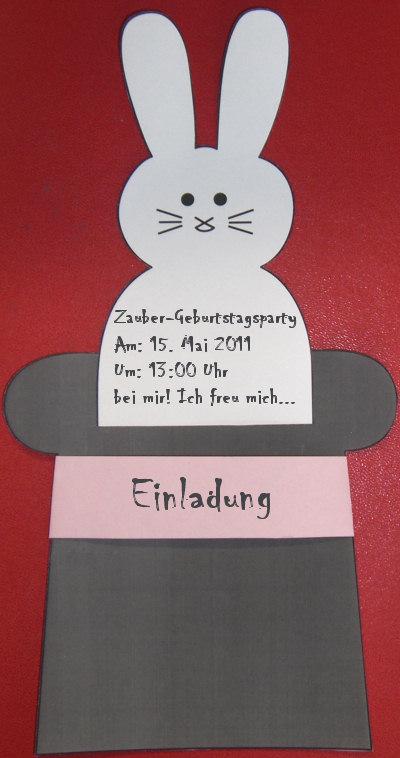 bastelanleitung: einladungskarte kaninchen im zylinder, Einladung